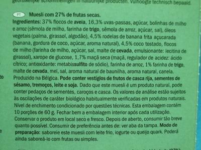 Muesli Croustillant aux fruits / Crunchy Muesli with mixed fruit - Ingredients