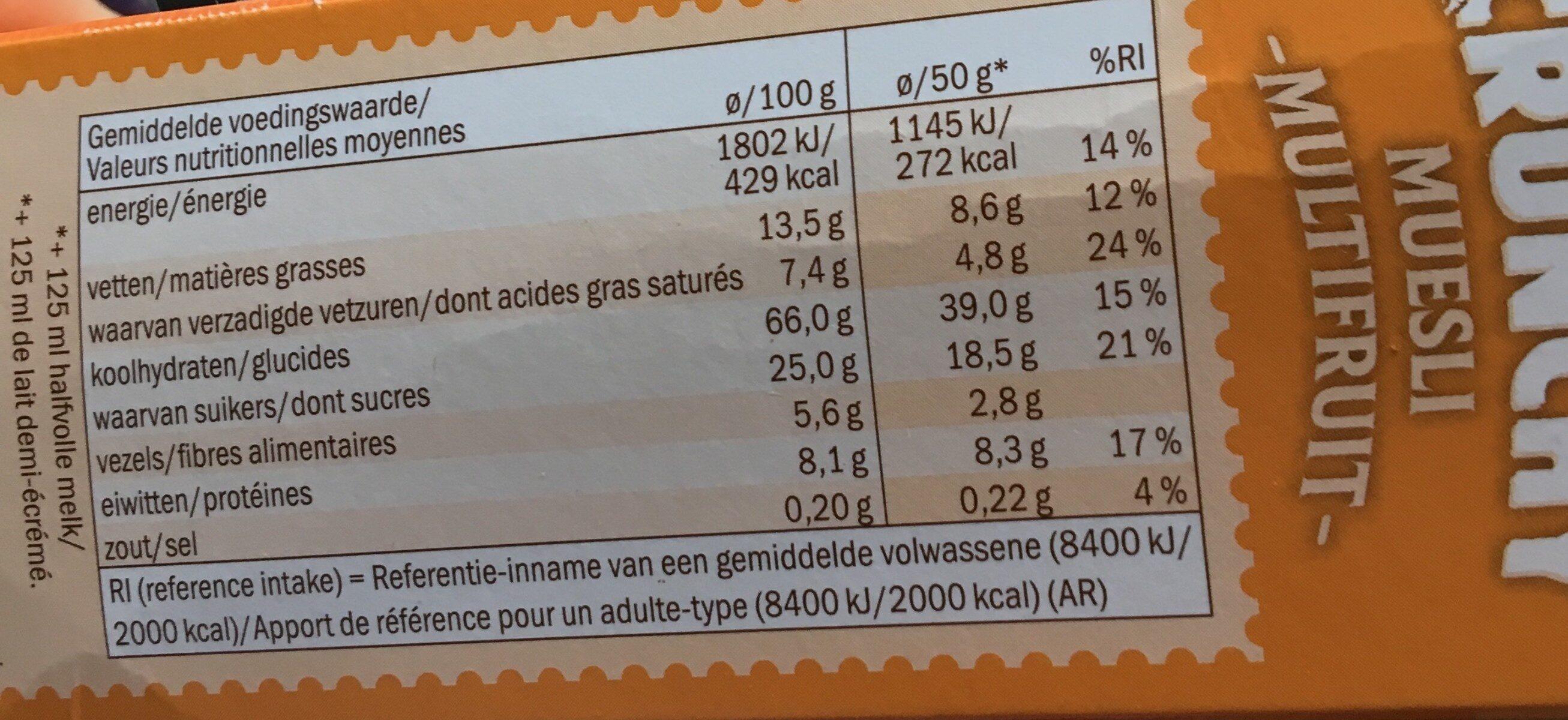 Crunchy - Muesli croustillant multifruit - Voedingswaarden - fr