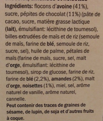 Muesli croustillant aux éclats de chocolat - Ingredients