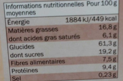 Muesli croustillant aux éclats de chocolat - Nutrition facts