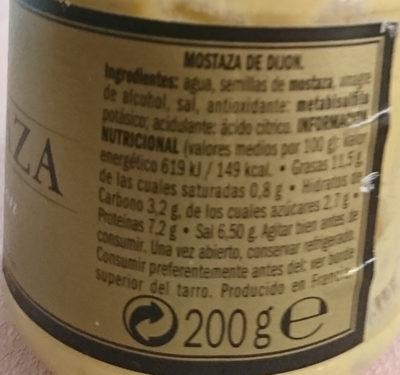 French Dijon Mustard - Información nutricional