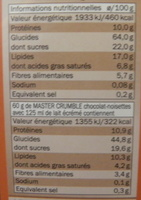 Master crumble chocolat noisette - Nutrition facts - fr