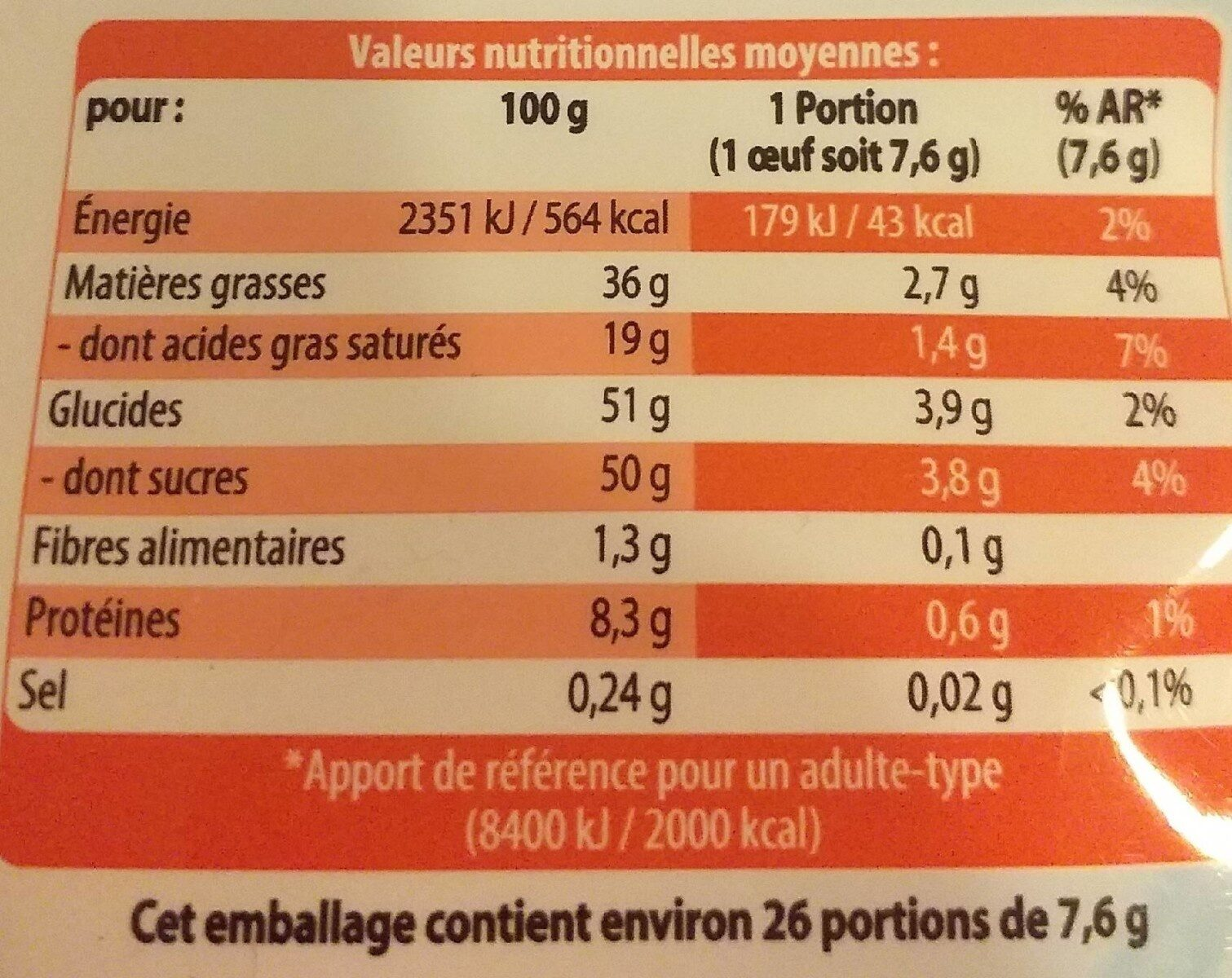 Oeufs en chocolat - Informação nutricional - fr