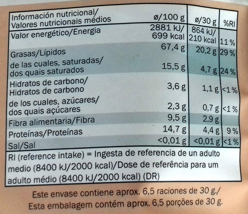 Paranusskerne - Información nutricional