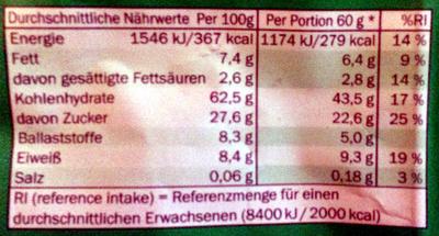 Premium Müsli mit Früchten und Kernen - Información nutricional