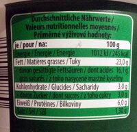 Kräuter der Provence cremig - Nutrition facts