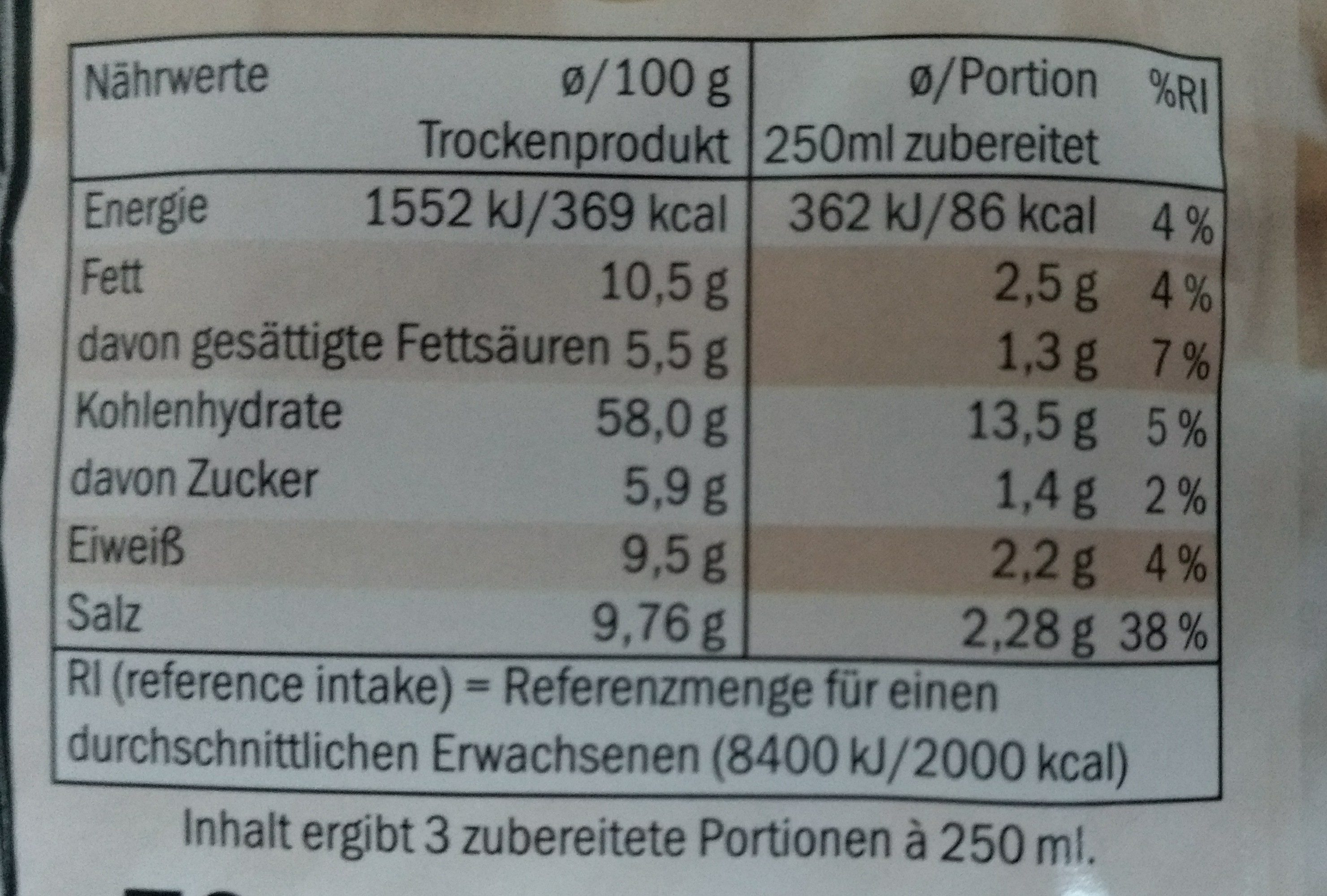 Champignoncreme-suppe - Nutrition facts - de