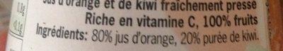 jus Orange-kiwi fraichement pressé - Ingrediënten - fr