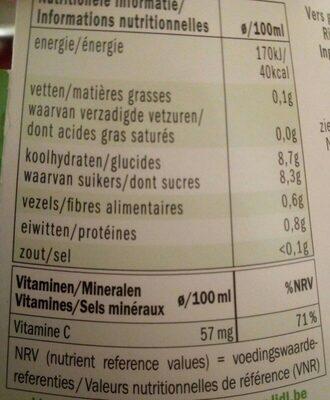 jus Orange-kiwi fraichement pressé - Nutrition facts