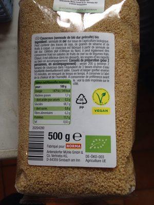 Couscous bio - Voedigswaarden