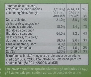 Galletas Digestive Naranja & Soja - Nährwertangaben - es