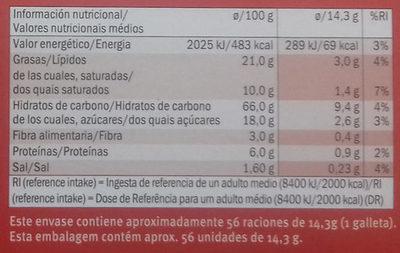 Galletas Digestive - Informations nutritionnelles