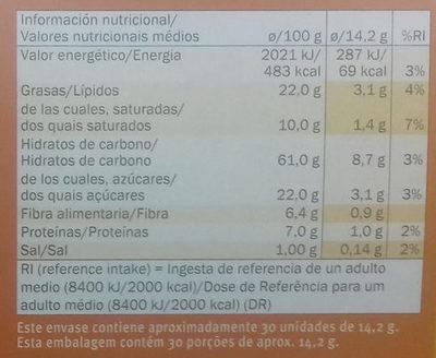 Galletas Digestive Avena - Informació nutricional