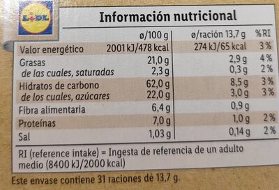 Galletas Digestiv Avena - Informations nutritionnelles - es