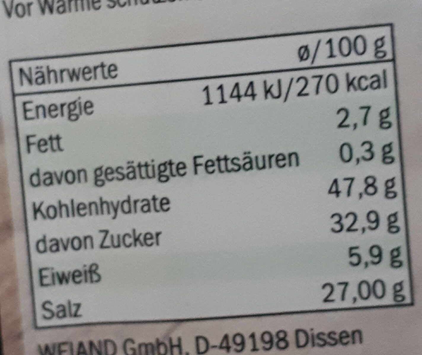 Salatkräuter - Valori nutrizionali - de