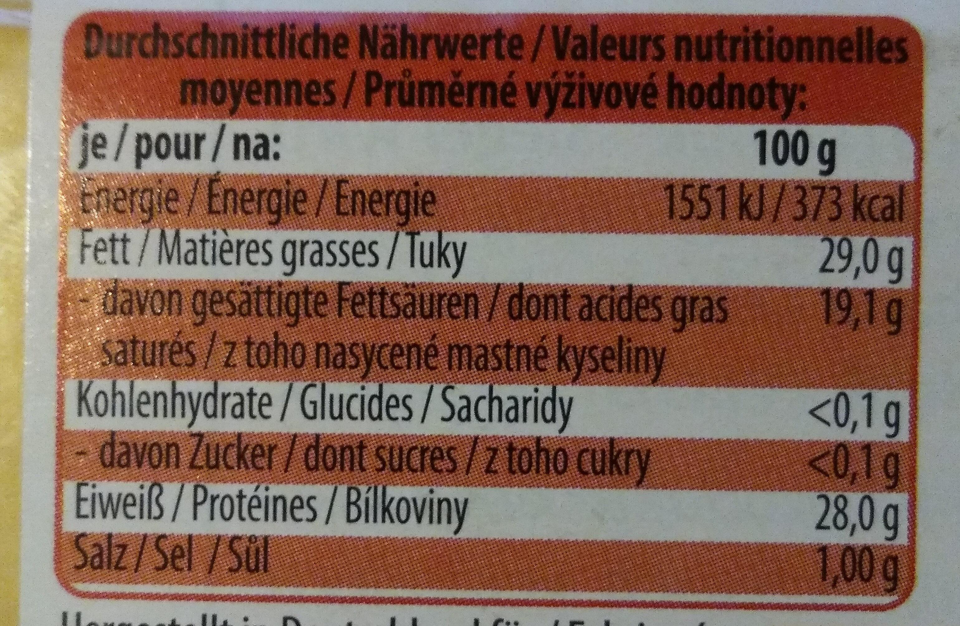 Bayerischer Emmentaler - Voedingswaarden