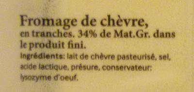 Fromage de chèvre en tranches - Ingrédients