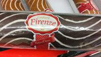 Gâteau avec 50% préparation crémeuse, décoré avec lignes de glaçage - Produit - fr
