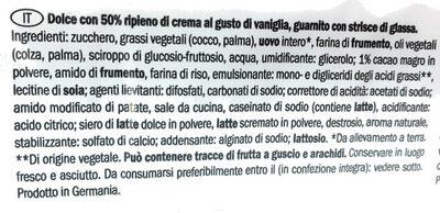 Gâteau avec 50% préparation crémeuse, décoré avec lignes de glaçage - Ingredienti - it