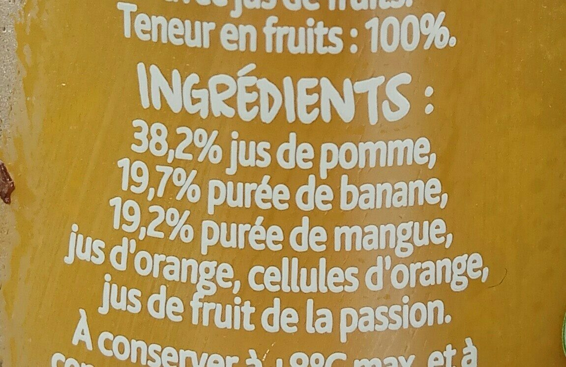 Smoothie Pomme, banane & mangue - Ingredients