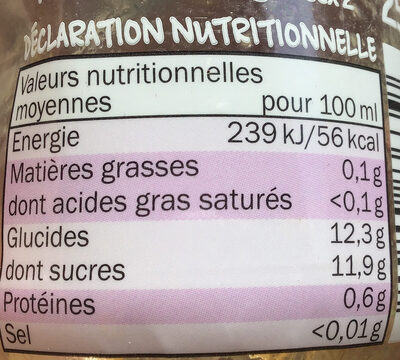Smoothie Pomme, banane & mangue - Nutrition facts