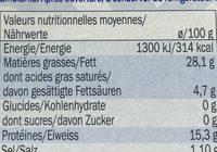 Poulpe à lhuile de soja - Informations nutritionnelles