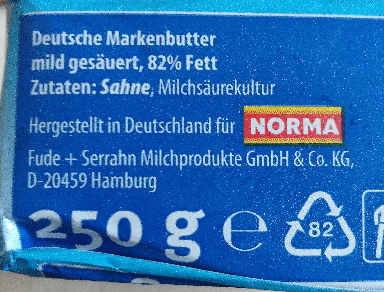 Deutsche Markenbutter mild gesäuert - Ingredients