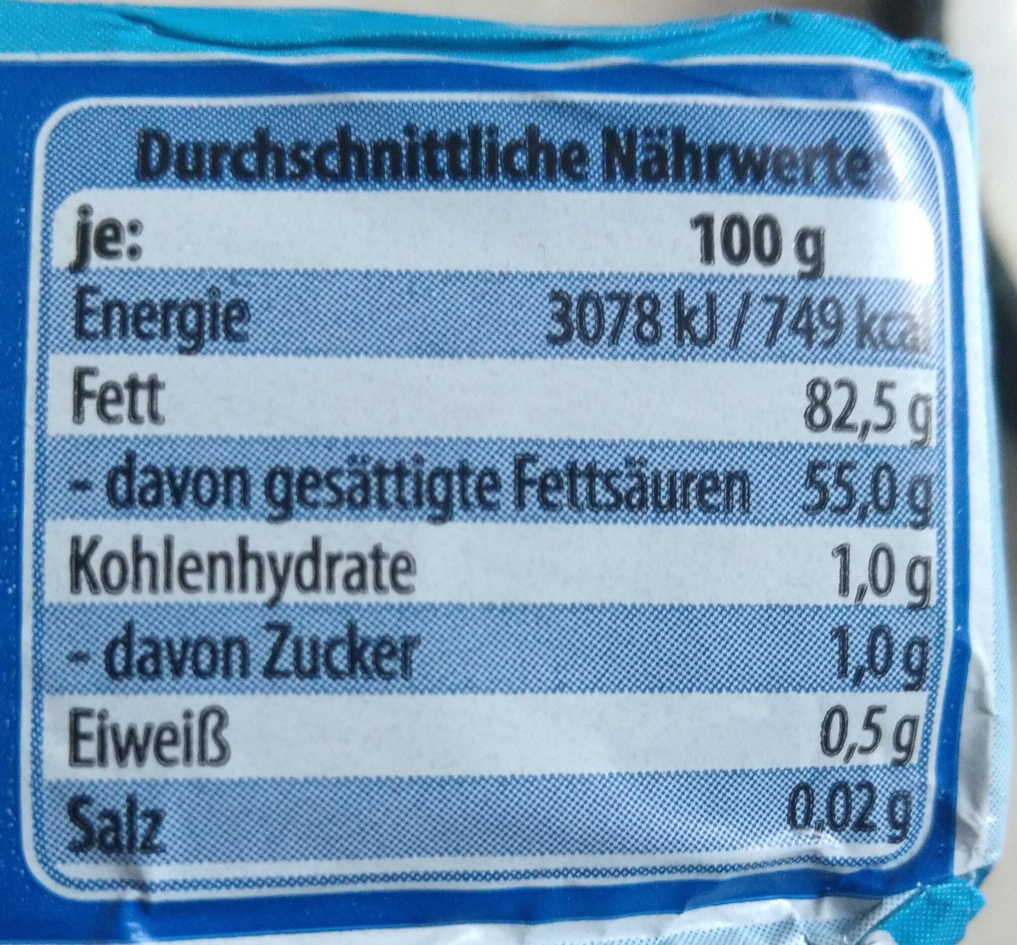 Deutsche Markenbutter mild gesäuert - Nutrition facts