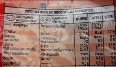 Emmental français râpé - Voedingswaarden
