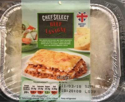 Lasaña boloñesa chef select - Product - en