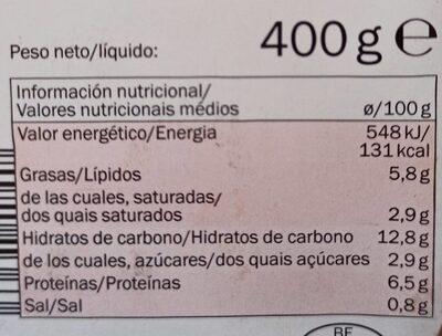 Lasaña boloñesa chef select - Nutrition facts - fr