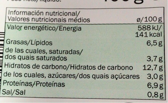 Lasaña de Espinacas - Valori nutrizionali - fr