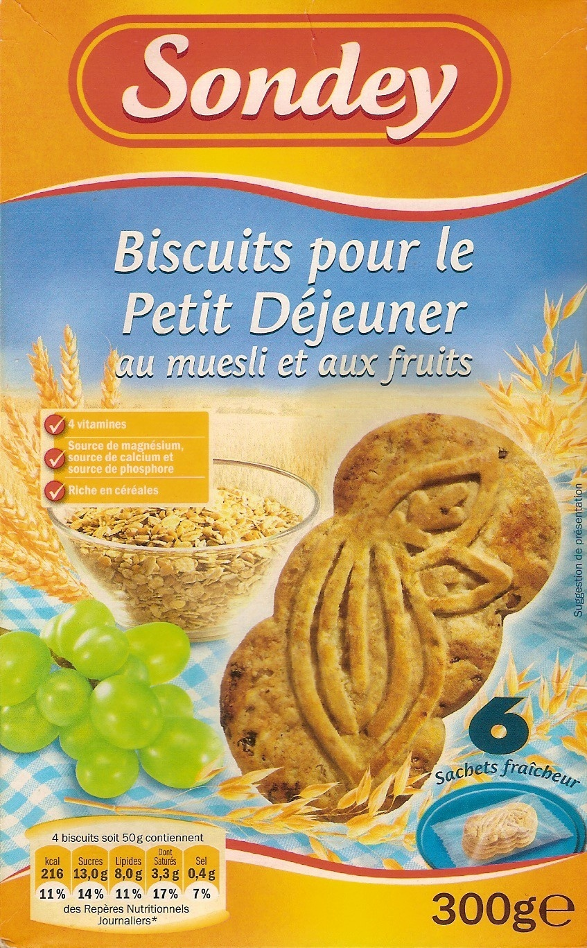 biscuits pour le petit d jeuner au muesli et aux fruits sondey 300 g. Black Bedroom Furniture Sets. Home Design Ideas