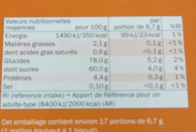 Barquettes Abricot - Informations nutritionnelles - fr