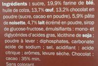 Barquettes choco-noisette - Ingrédients