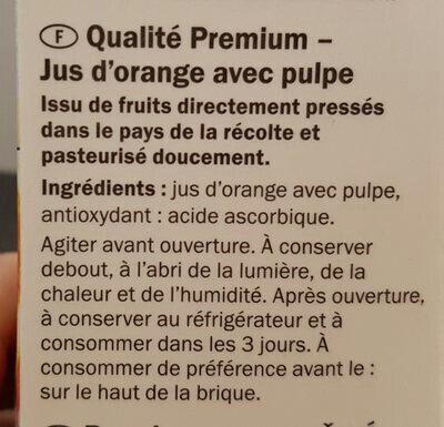 Orange Premium Direktsaft - Inhaltsstoffe
