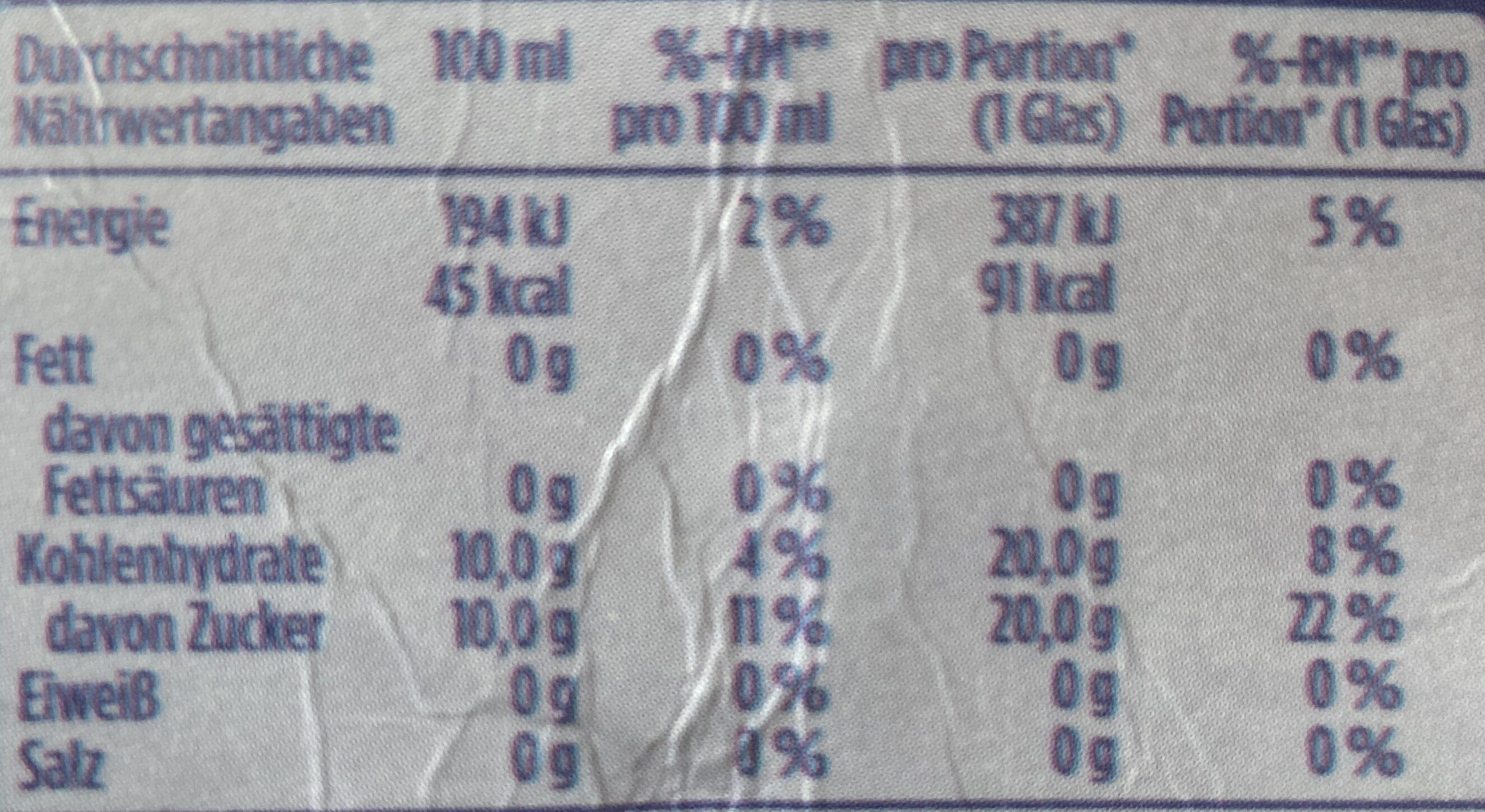Schwarze Johannisbeere Nektar - Valori nutrizionali - de
