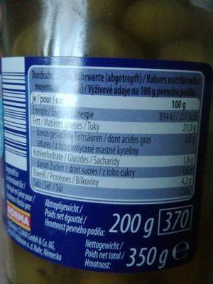 Olives vertes farcies aux amandes - Voedigswaarden