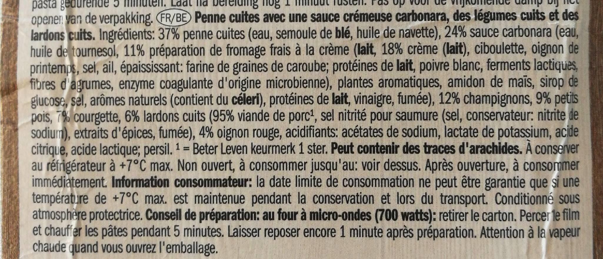 Penne carbonara avec légumes et lard - Ingrediënten - fr