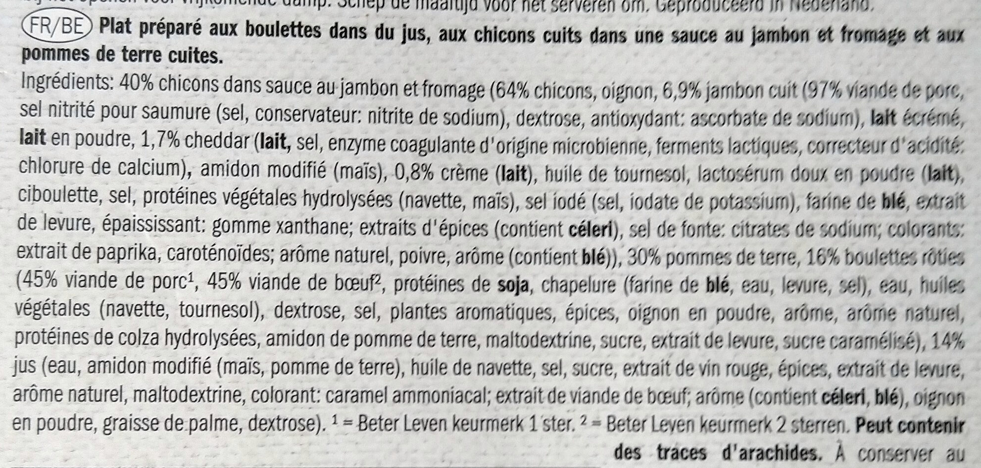 Boulettes Chicons sauce jambon fromage - Ingredients