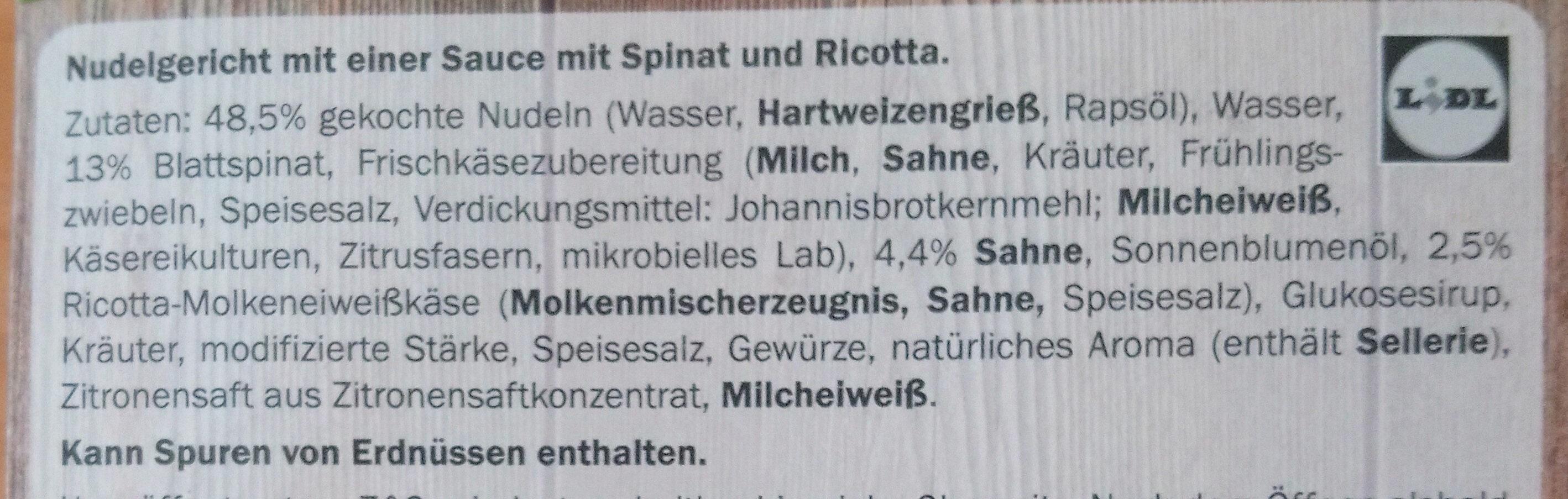 Tagliatelle Spinat-Ricotta - Ingredients