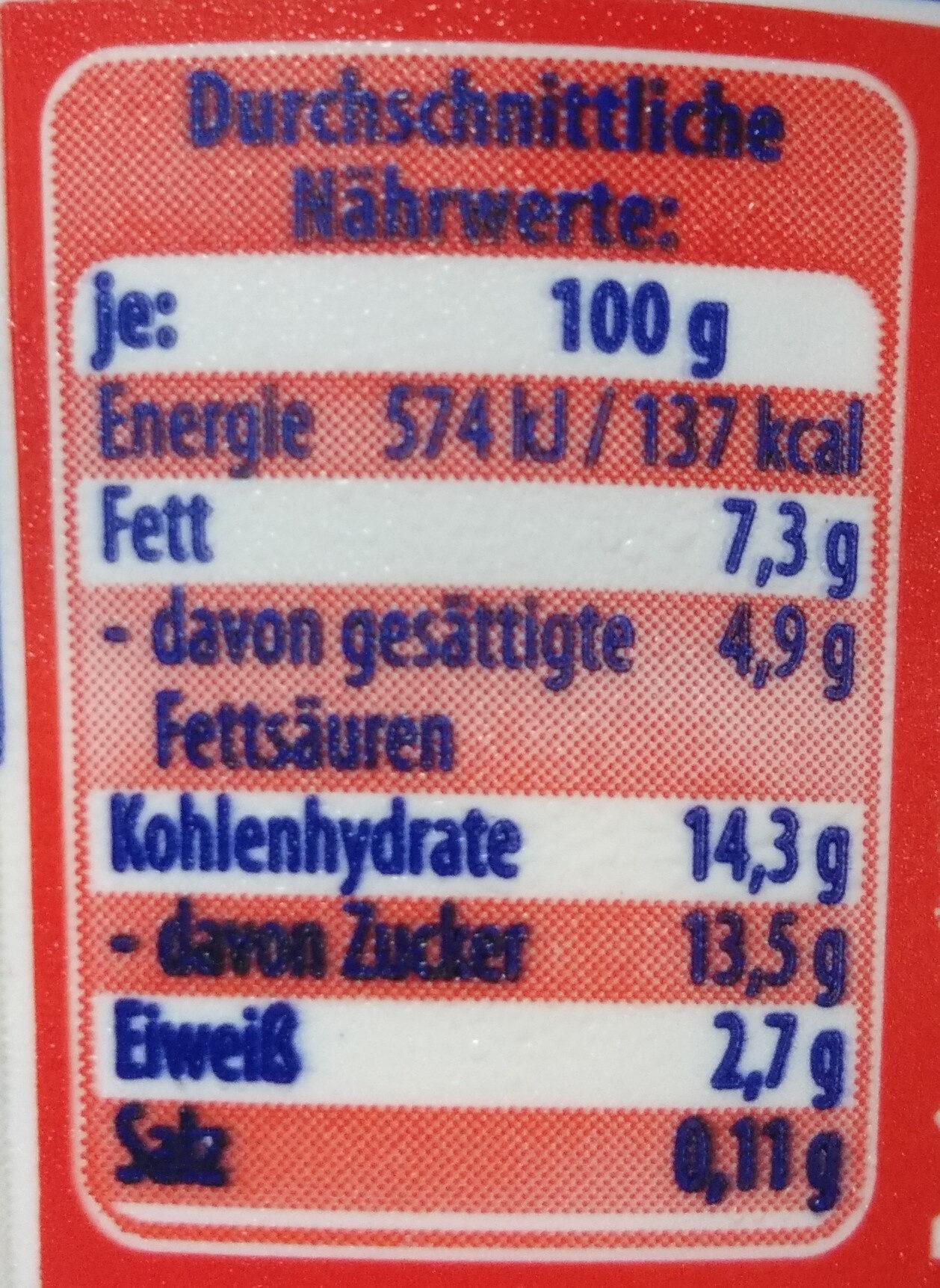 Sahne Kefir mild Erdbeere - Voedingswaarden - de