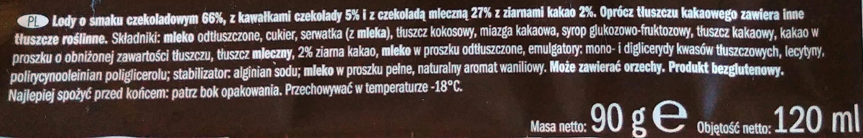 Lody o smaku czekoladowym 66%, z kawałkami czekolady 5% i z czekoladą mleczną 27% z ziarnami kakao 2%. - Ingrediënten - pl