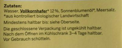 Bio Hafer Drink - Ingredients - de
