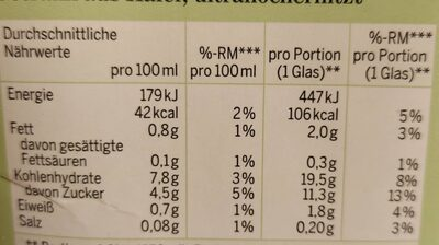 Bio Hafer-Drink - Nutrition facts