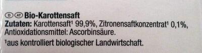 Bio-Saft Karotte - Ingrediënten - de