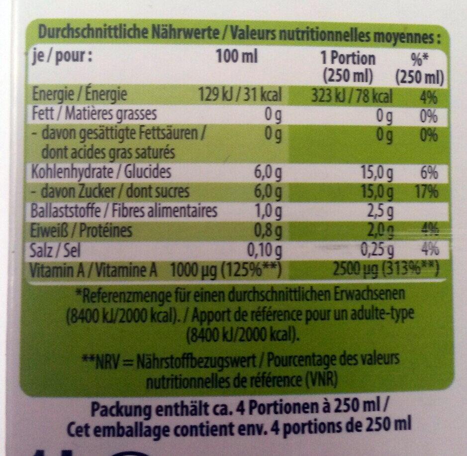 Bio-Saft Karotte - Voedingswaarden - de