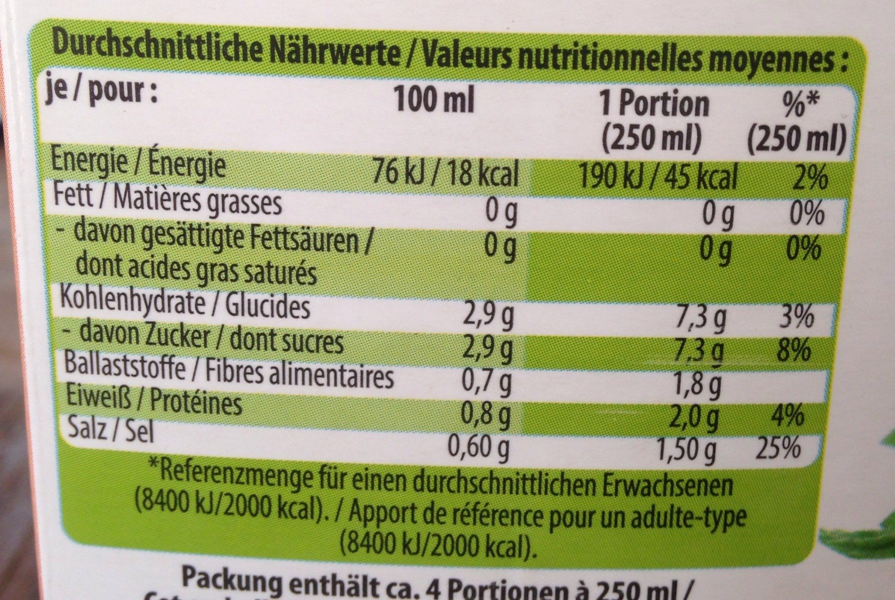 Jus de tomate bio - Nutrition facts