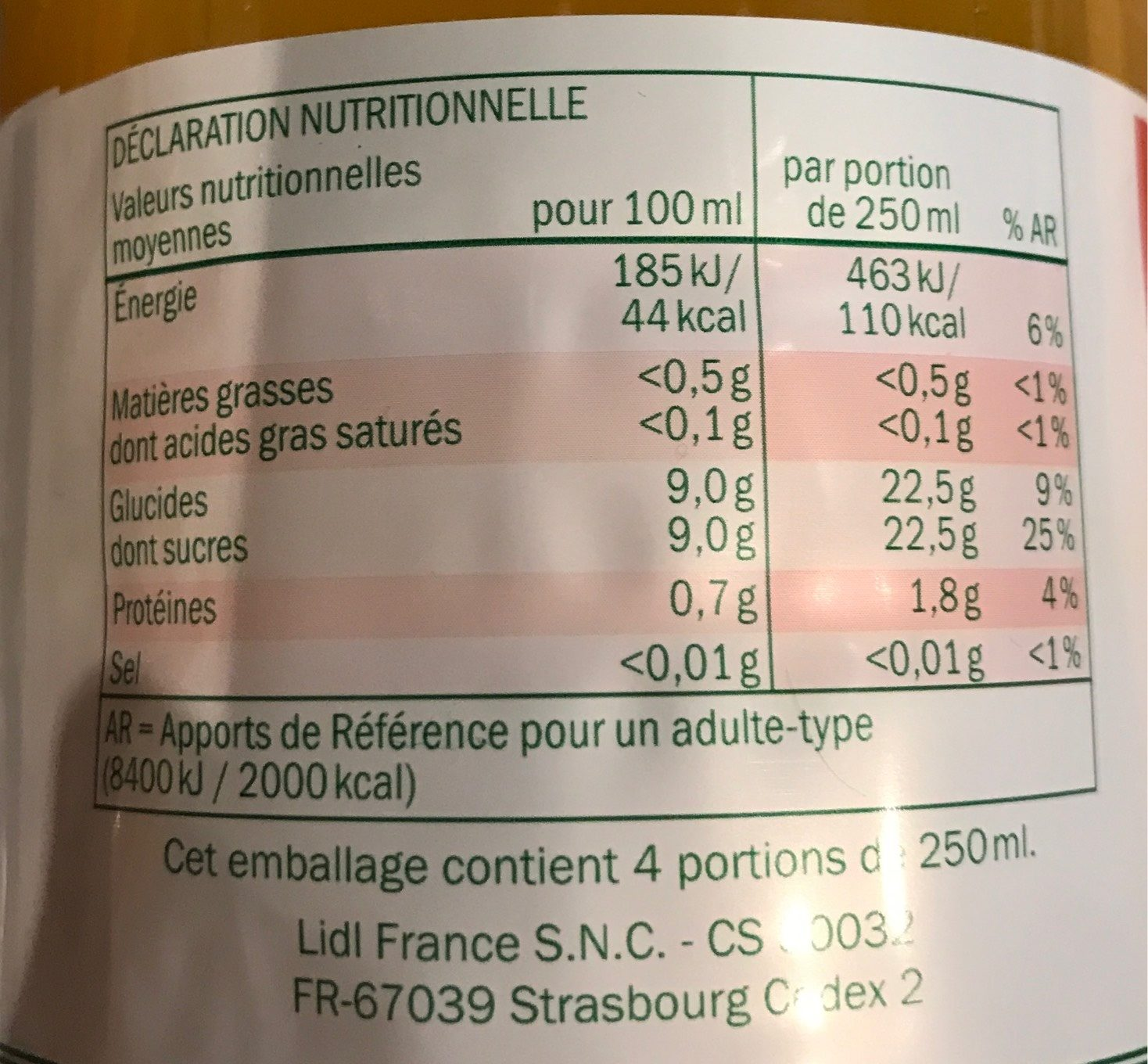 Jus 4 agrumes - Nutrition facts