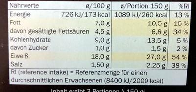 Hähnchen Nuggets Käse - Informations nutritionnelles - de